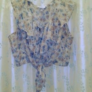 Maxima USA Tie-Front Floral Chiffon Blouse